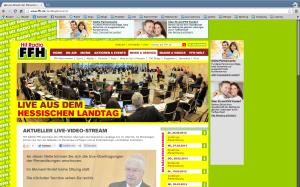 Screenshot von FFH.de mit Sender-Logo und Display-Werbung für Online-Partnerbörsen und Private Krankenversicherungen.